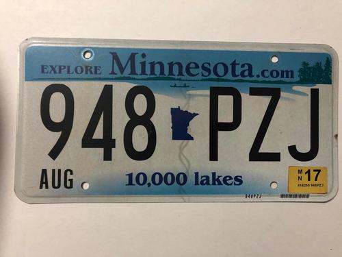 Placa Americana Minnesota Decoración O Colección