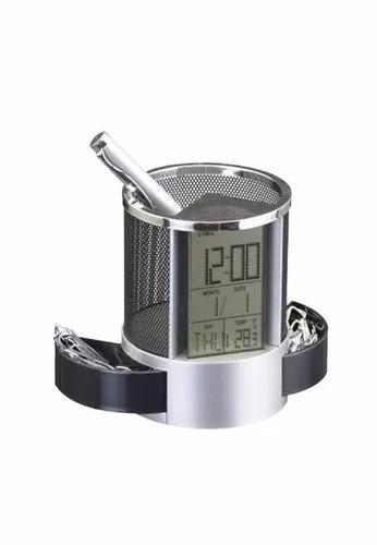 Portas Caneta Com Relógio Digital Data E Termômetro Prata