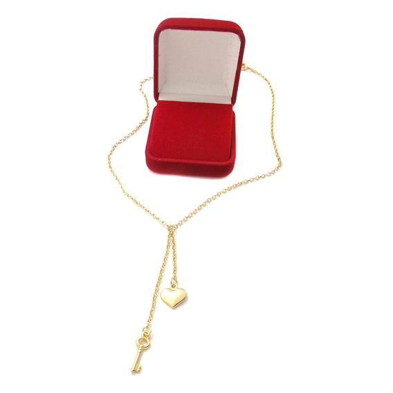 Colar Presente Namorada Pingentes Coração Chave + Caixa