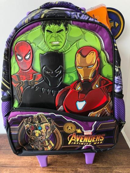 Mochila Infantil Avengers De Rodinha Média 7511 Xeryus