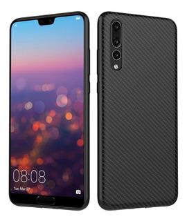 Capa Tpu Anti Impacto Carbono Huawei P20 Pro Pelicula Vidro