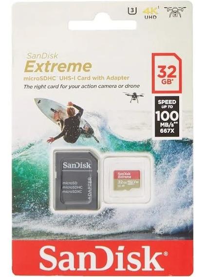 Cartão De Memória 32gb 100 Mb/s Sandisk Extreme + Adaptador