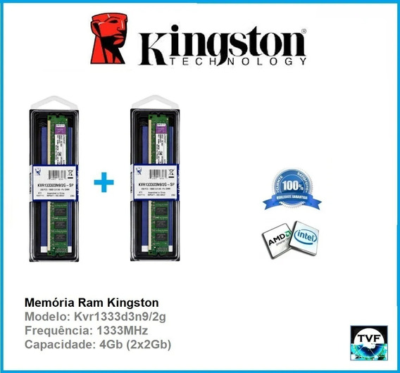 Memória Ram Kingston 4gb(2x2gb) Ddr3 1333mhz Kvr1333d3n9/2g
