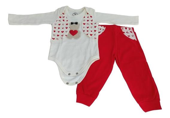 Conjunto Bebê Body Menina Coração + Calça Coraçãozinho 100%
