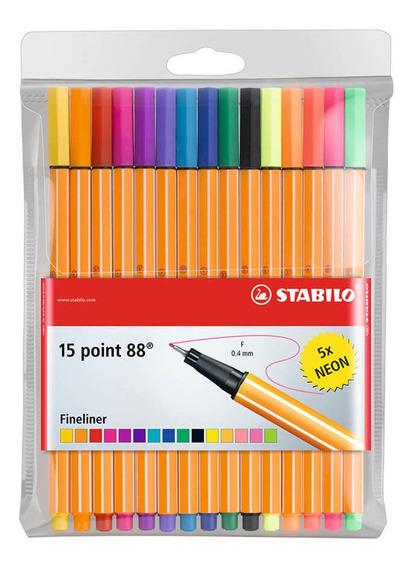 Set 15 Fineliner Stabilo Point 88 Colores Surtidos Y Neón