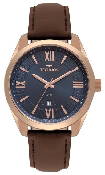 Relógio Technos Masculino Classic 2115mso/2a Rose Couro Marr