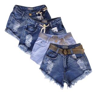 Kit 4 Shorts Vários Modelos Jeans Colorido Bordados