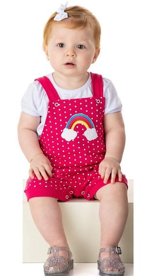 Roupa Bebê Menina Conjunto Blusa E Jardineira Curto Verão