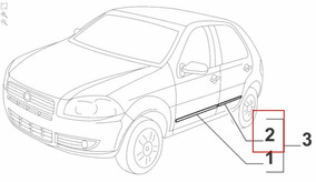 Friso Lateral Cromado Porta Traseira Ld Fiat Palio 2008-2012