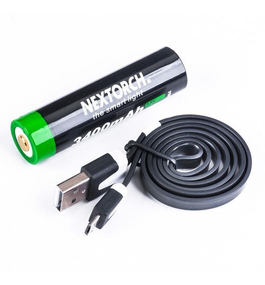 Bateria Recarregável 3400mah Li-ion 3.6v Usb Nextorch 18650