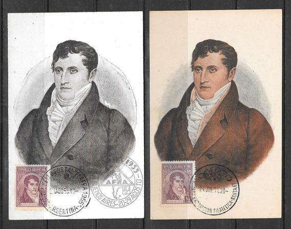 Argentina Decada 30 Dos Postales Filatelicas Belgrano