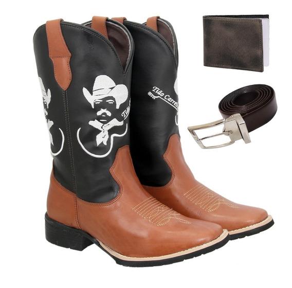 Bota Texana Country Masculina Couro Tiãocarreiro+cart+cinto