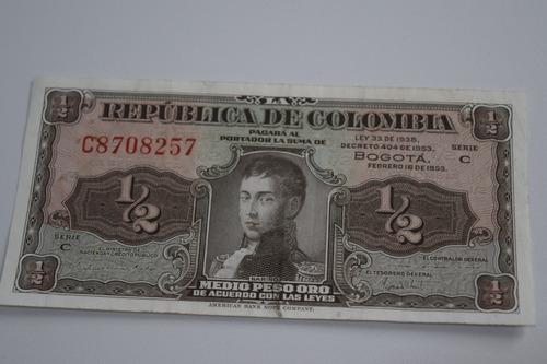 Imagen 1 de 4 de Billete De 1/2 Peso De Colombia Lleras