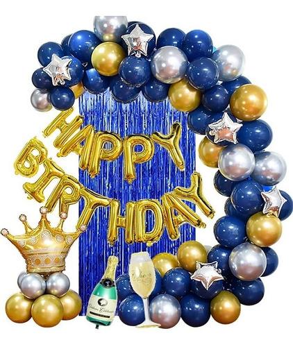 Kit Globos Feliz Cumpleaños Corona Copa Champaña Deco Fiesta