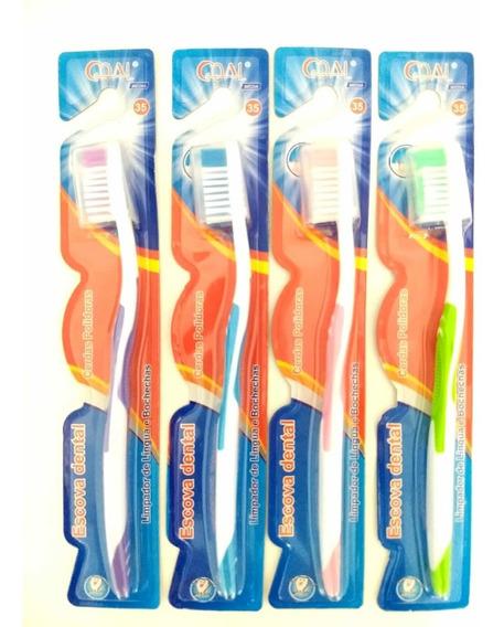 Kit Com 12 Escova Dental Cerdas Média Escova Dente Barata