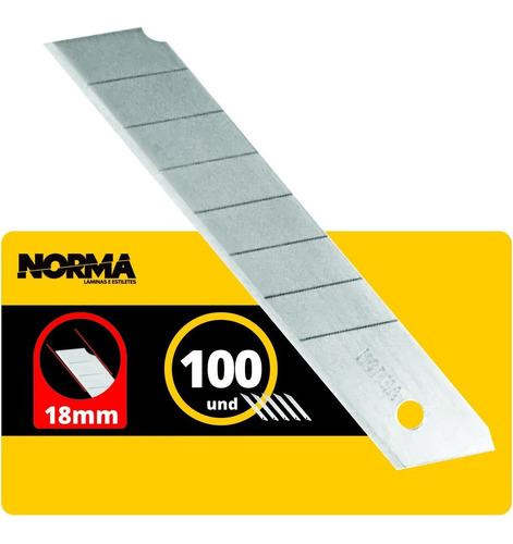Imagem 1 de 2 de Lâmina Norma Larga Estilete De 18mm Profissional C/100