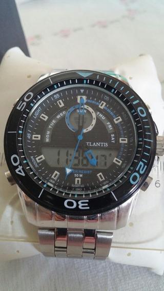 Relógio Atlantis Grande Fundo Preto