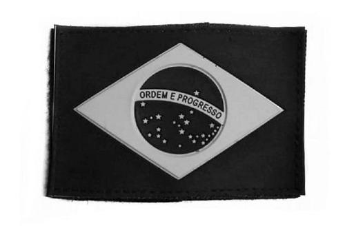 Pach Emborrachado Bandeira Do Brasil Preta