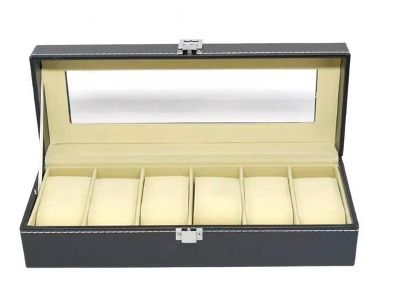 Caixa Estojo Guarda Porta 6 Relógios Em Couro Luxo Pequeno