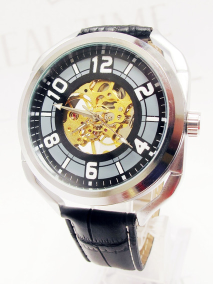 Reloj Skeleton Semiautomático Negro Acero Piel Envío Gratis