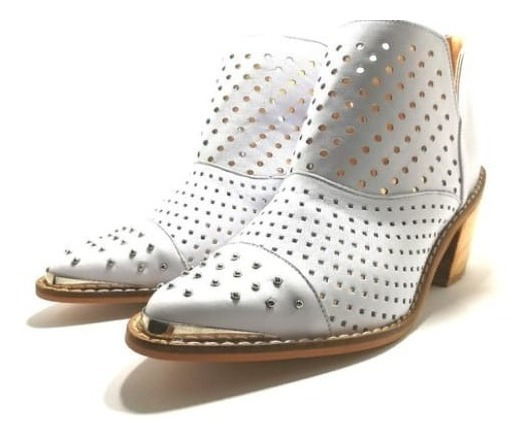 Zapato Mujer Bota Tejana Cuero Calado 2020