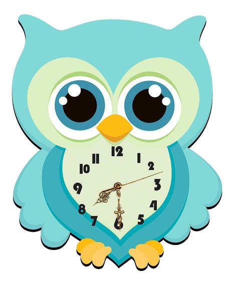Relógio De Parede Corujinha 32x39 Decorativo Mdf Adesivado