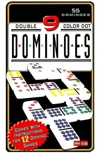 Domino Juego Doble 9 En Caja Metalica 55 Fichas Con Color