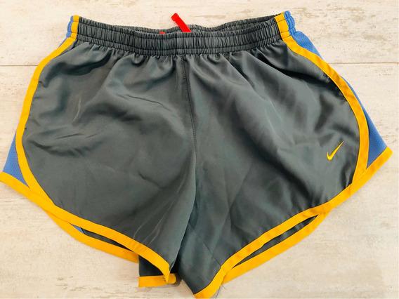 Nike Short Deportivo Niña Talla M Gris Con Amarillo