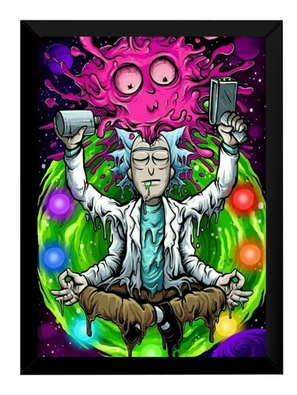 Incrivel Quadro Decorativo Rick And Morty Psicodelico 42x29