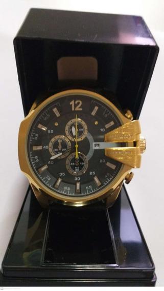 Relógio Cagarny Dourado Couro Pronta Entrega + Brinde