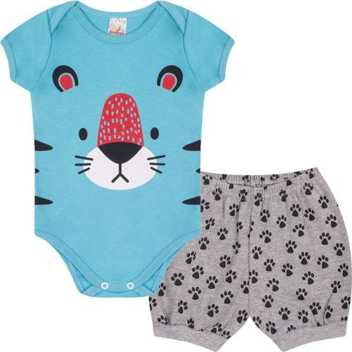 Roupa Bebê Menino Conjunto Body E Shorts Suedine Curto Verão