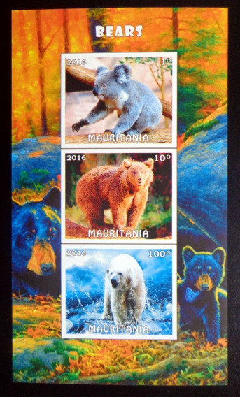 Mauritania Fauna, Bloque 3 Sellos S D Osos 16 Mint L9908