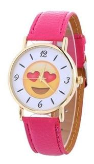 Reloj Emoji Con Malla Rosa Para Dama Juvenil Ideal Regalo