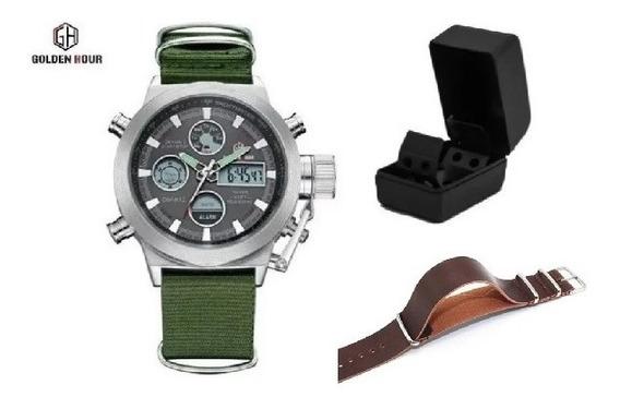 Relógio Goldenhour Prata + Pulseira Extra - Pronta Entrega