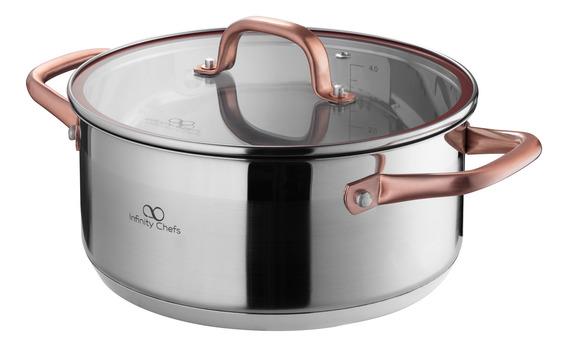 Olla De 20 Cm Con Tapa De Vidrio Infinity Bergner Bgic-3501