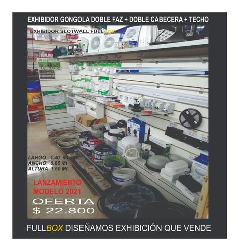 Imagen 1 de 3 de Exhibidor Gondola Slotwall Doble Faz+doble Cabecera+techo