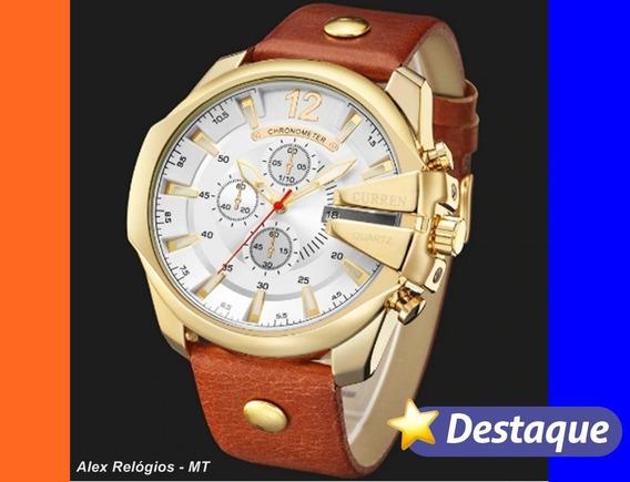 Relógio Curren 8176 Original Na Caixa Pulseira De Couro Luxo