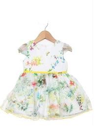 Vestido Infantil Branco Floral Borboletas - Pupi