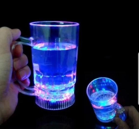 10 Vasos Luminosos Led Chopp Chops Con Boton Fiestas Eventos