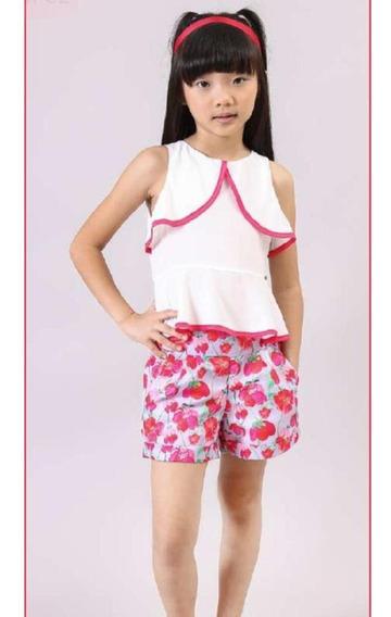 Conjunto Infantil Shorts Floral Bambollina