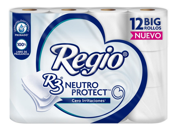 Papel Higiénico Regio R3 Neutro Protect 12 Rollos
