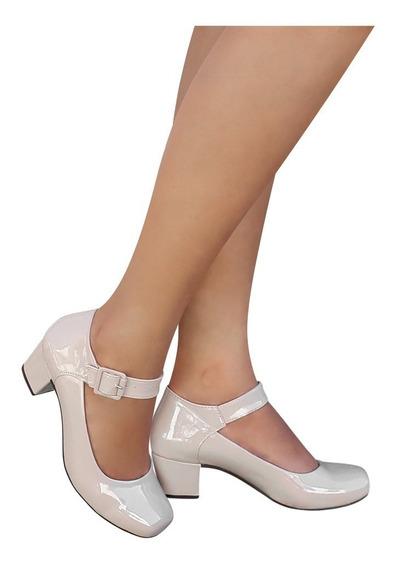 Sapato Boneca Bege Verniz Social Salto Baixo Quadrado