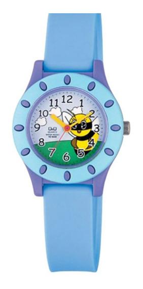 Relógio Infantil Azul E Lilás Fundo Abelha Ponteiro Original