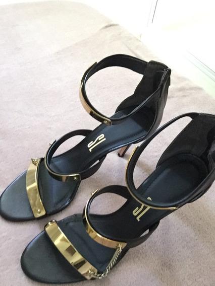 Sandalia Santa Lolla Tam 39 Preta C/detalhe Dourado