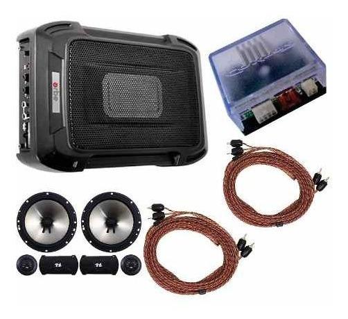 Caixa Slim + Kit 2 Vias 6 + Módulo Rca Cabos + Amplificador