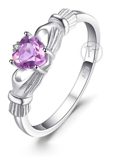 Anillo Alejandrina 0.6 Ct Claddagh Plata Esterlina 925
