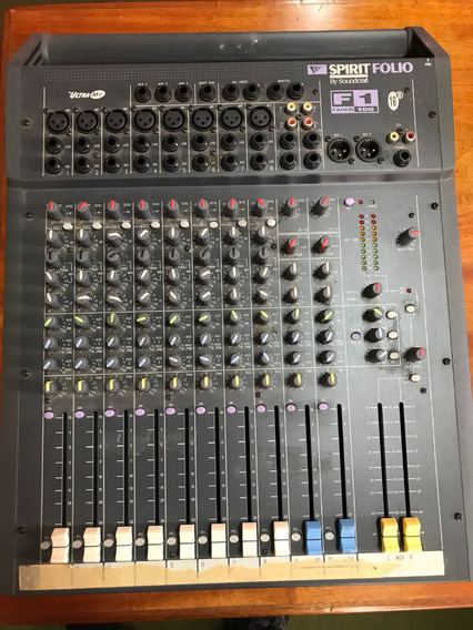 Mesa De Som Spirit Folio F1 Fader100 By Soundcraft 10 Canais