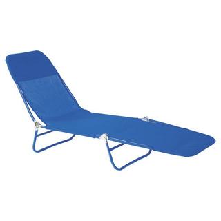 Reposera Cama Plegable Acero Textileno 10 Posiciones - Azul