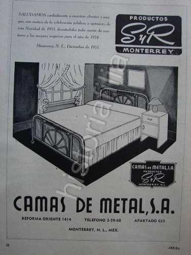 Publicidad Antigua De Monterrey / Camas Salinas Y Rocha 1953