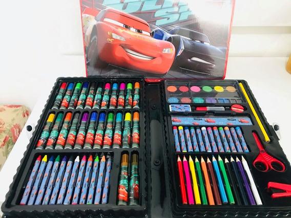 Maleta Infantil De Pinturas Carros Contem 86 Itens